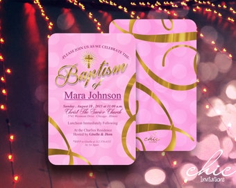 50 Baptism Invitations Girl Pink