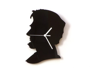 Lincoln - black acrylic wall clock, silhouette clock, home accessories, urban style
