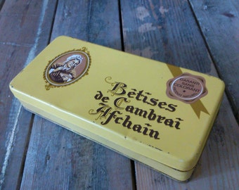 French vintage box of candy bêtises of cambrai 70