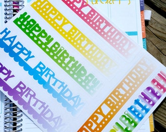 Happy Birthday Erin Condren Banner Sticker