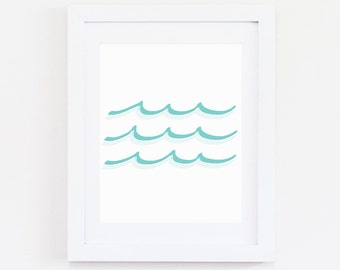 Green Waves, Instant Download, Digital Print, Green Wall Art, Ocean Print, Sea Print, Wave Print, Ocean Waves, Green Decor, Nursery Decor