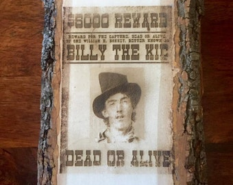 Billy The Kid Wooden Wanted poster