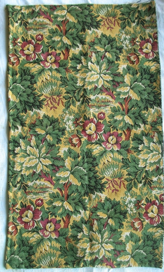 Vintage French Woven Fabric Panel Tapestry Chateau Pattern florals
