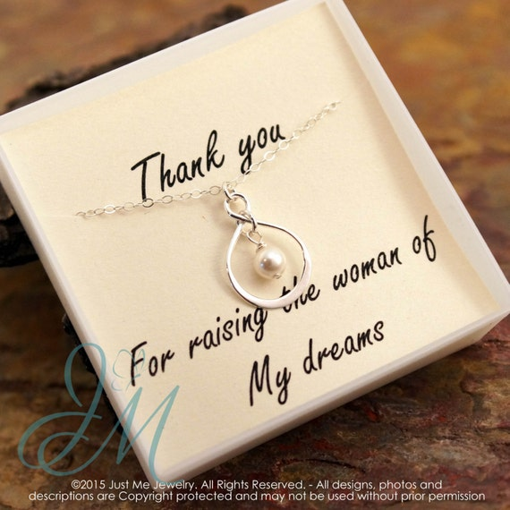 Mother of the Bride Necklace - Sterling Silver Infinity Necklace with pearl or birthstone