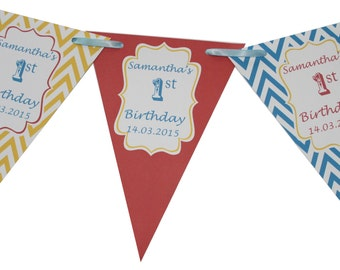 Personalised Birthday Bunting Banner Decoration Chevron Flags Baby Boy Girl 1st 2nd 3rd Circus Pink Blue