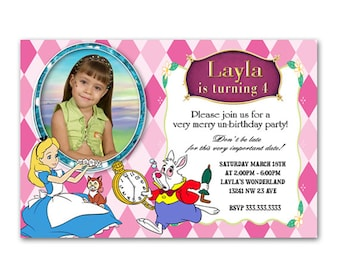 Printable Personalized Alice in Wonderland Party Invitations