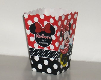 10 Personalized Minnie Mouse Red Print popcorn boxes