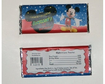 Printable Mickey Mouse Candy Bar Wrappers 1.55oz - red/ blue