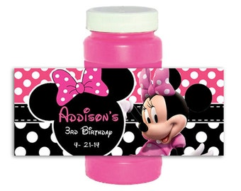 Minnie Mouse Birthday Personalized bubble Labels Favors sticker