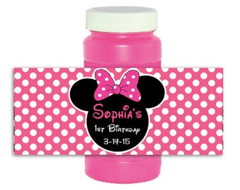 Minnie Mouse pink polka dot bubble bottle labels Wrappers Stickers