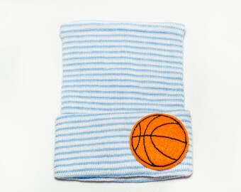 BASKETBALL blue and white striped newborn baby boy hospital hat, baby boy, newborn boy, baby boy hat, newborn boy hat, boy hat