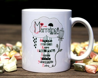 """Mug """"my godmother, she is"""". Personalized Coffee Cup. Godmother gift. Baptism gift. Text and graphics by CHEEP creations."""