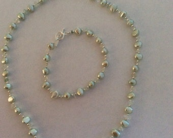 Baroque Pearl and Aquamarine Necklace & Bracelet 'Mint Julep'