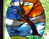 Stained Glass Moon and Tree, The Witching Hour Suncatcher - Sun Catcher