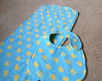 Turquoise and Yellow Duck Bib and Burp Cloth Set