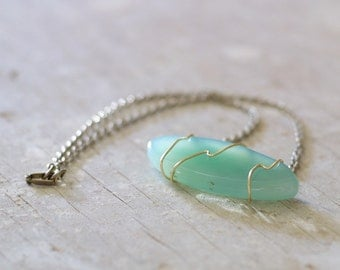Blue green agate surfboard statement necklace