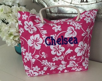 Beach Bag, Summer tote, TROPICAL personalized beach bag, purse, hand bag, beach tote, market bag, luggage, summer carry all, name, pool bag