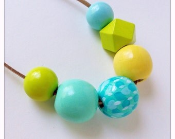 Hand Painted Wood Bead Necklace in Dragonfly