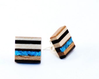 Mid century inspired reclaimed wood and turquoise earrings (Linea Collection), small.