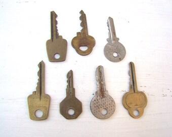 Set of 7 Vintage Metal Keys USSR Keys Antique Keys Old Skeleton Keys Rusty Metal Keys