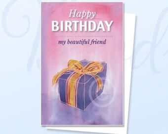Happy Birthday Friend, Greeting Card, Happy Birthday Card, Greeting Card, Birthday, Birthday card, Girlfriend card, Friend, card, pink