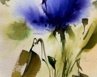 100% Original Signed Watercolor Flower Roses Painting Artwork