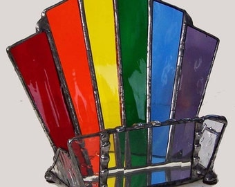 Stained Glass Rainbow Business Card Holder