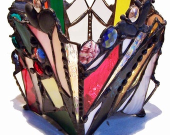 Stained glass bowl or candle holder