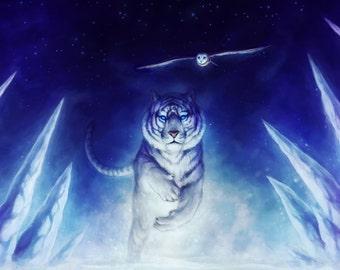 Precursor - Signed Art Print - Fantasy Tiger Painting by Jonas Jödicke