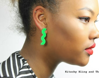 Ric Rac Earrings with silver plated stud posts