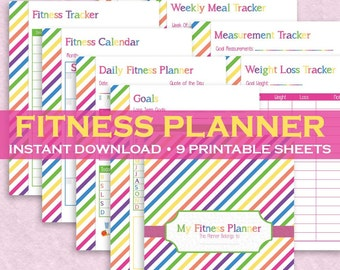 Health & Fitness Planner - 9 Printable Pages! Instant Downloadable Letter Size PDF