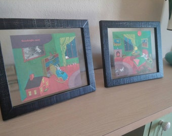 "Set of framed vintage storybook pages from ""Goodnight Moon"""