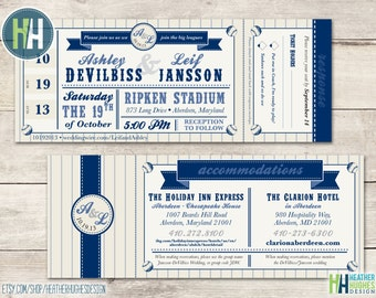 printable baseball ticket wedding invitation, sports theme vintage with attached RSVP and accomodations, navy and tan informal personalize