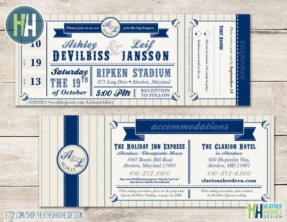 Baseball Wedding Invitation: Printable Baseball Ticket Wedding Invitation Sports Theme