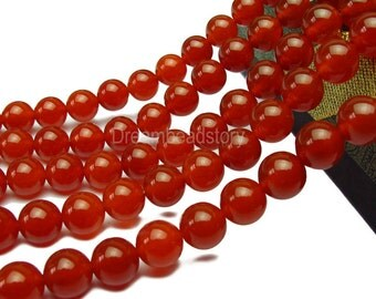 Red Carnelian Agate Gemstone Beads, Round 2 4 6 8mm 10 12 14 16 18 20mm Stone Beads Wholesale (B1)