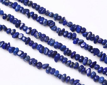 Natural Lapis Lazuli Nugget Beads, Irregular Genuine Lapis Pebbles, Full Strand 6-8mm Blue Gemstone Nuggets for Jewelry Making