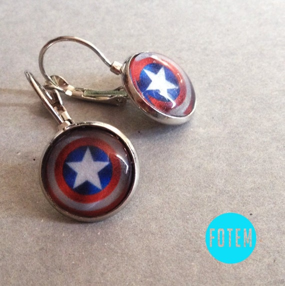 captain america earrings captain america shield earrings marvel by fotem 8942