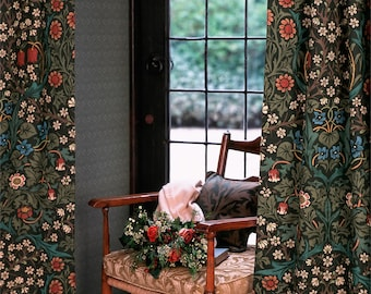 """William Morris Curtains Blackthorn 90"""" drop 52"""" wide Made to Order"""