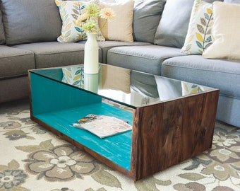 See U Blue Table - Modern coffee table design with glass top and reclaimed wood