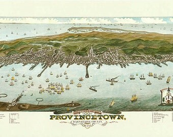 Provincetown Bird's Eye View 1882 Colored Reproduction