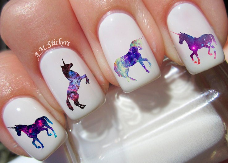 40 Galaxy Unicorn Nail Decals from AMnails on Etsy Studio