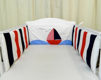 Nautical cot bumper