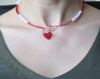 Handmade red&pink dream beaded necklace