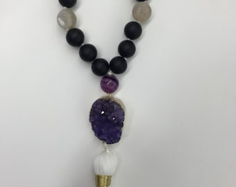 Long Black Tassel Necklace with Purple Druzy Pendant