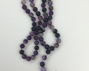Long Beaded Purple Tassel Necklace with Striped Agate