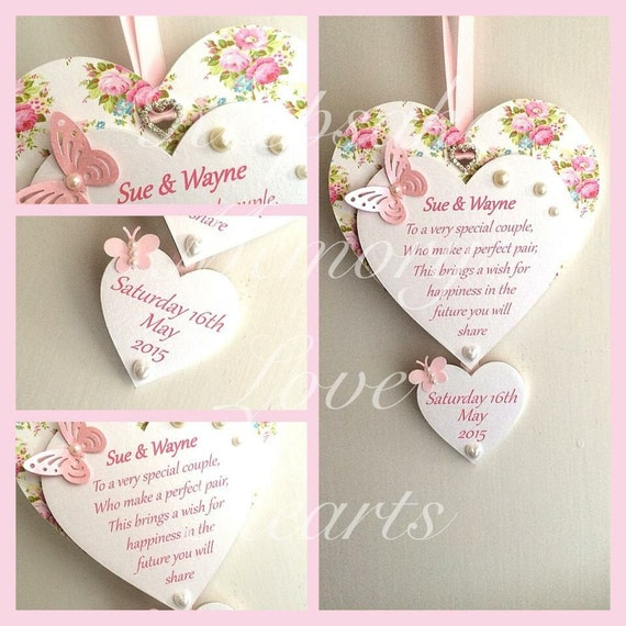 Personalised wedding gift for couple wooden keepsake heart