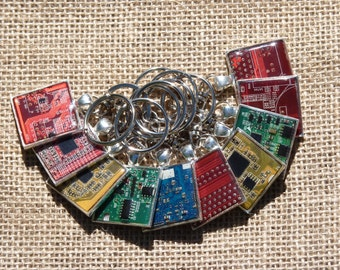 Real old computer circuit board, motherboard keychain pcb circuit board jewlery recycled tech computer steampunk keychain IT tech gift key