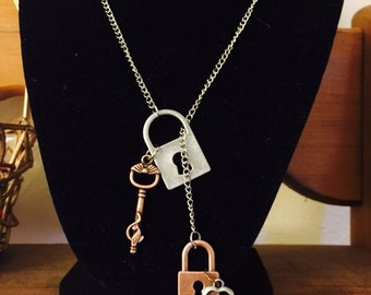 Lock and key lariat necklace.