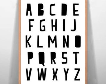 Alphabet Print, Alphabet Wall Art Nursery Print Digital Art Print Baby Room ABC Print Kids Room Printable Typography Poster