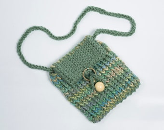 Knitted Sage Green Purse with Bead and Ring Closure